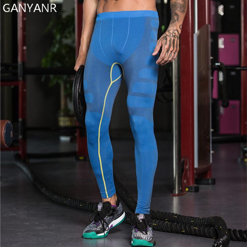 GANYANR Brand Running Tights Men Sports Leggings Plus Size Yoga Long Pants Basketball Gym Fitness Football Sexy Jogging Trousers