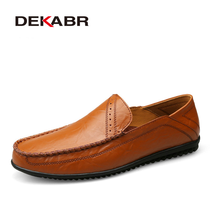 DEKABR Brand New Arrival Men Breathable Casual Shoes High Quality Split Leather Flats Fashion Casual Shoes Men Loafer Men Shoes top brand high quality genuine leather casual men shoes cow suede comfortable loafers soft breathable shoes men flats warm