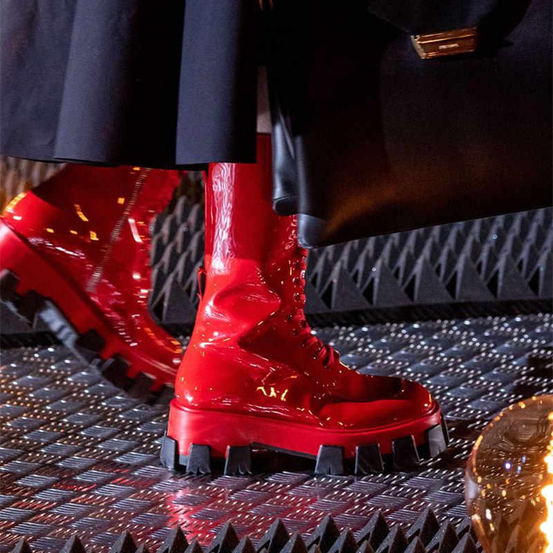 Moda Rugan Düz Platform Kadınlar Şövalye Çizmeler Çapraz Bağlı Orta Buzağı Motosiklet Botları 2019 Kırmızı Pembe T Gösterisi Çizmeler kadın