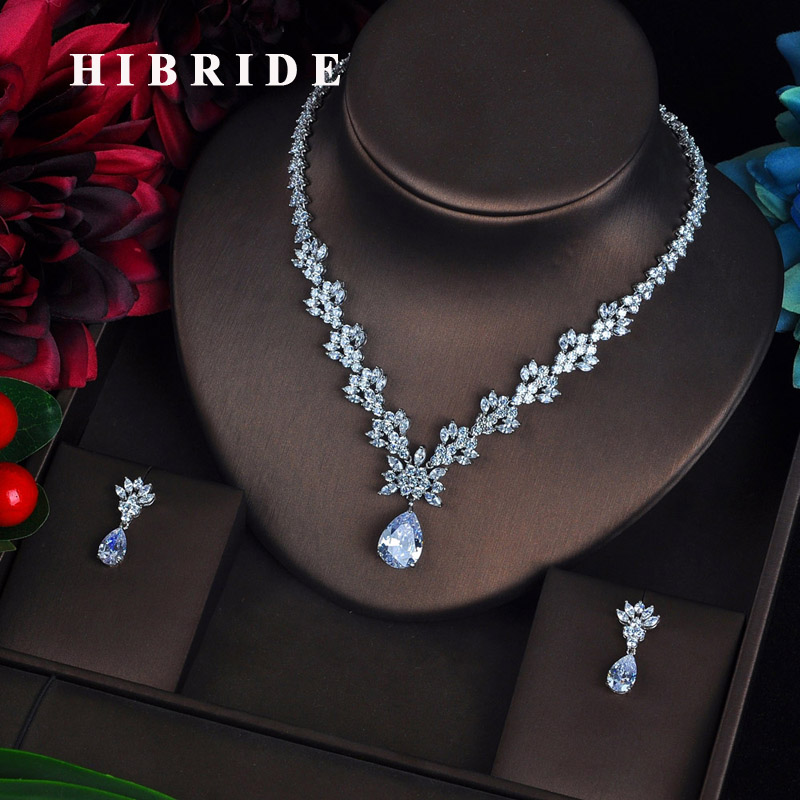 HIBRIDE luxury Clear Crystal Zircon Water Drop Jewelry Sets For Women Necklace Bijoux Mariage Pendientes Mujer Moda N-620HIBRIDE luxury Clear Crystal Zircon Water Drop Jewelry Sets For Women Necklace Bijoux Mariage Pendientes Mujer Moda N-620