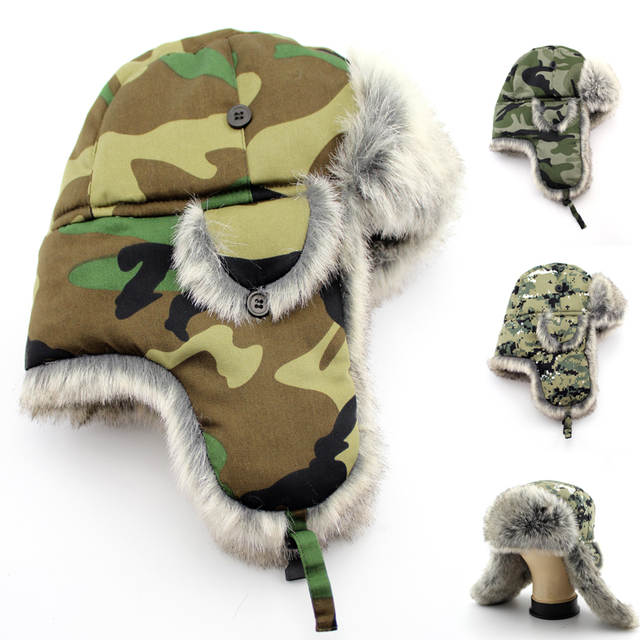 353eab168 US $13.69 |BFDADI Men Bomber Camouflage Cap Winter Trapper Hats Faux Fur  2018 Windproof Snow Hat Ear Flaps Russian Military Caps 3 Colors-in Bomber  ...