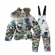 2015 Winter Down Jackets With Pants Flora Print Thick Snow Suit Overalls Baby Girls Down Coat Warm Children's Clothing Set