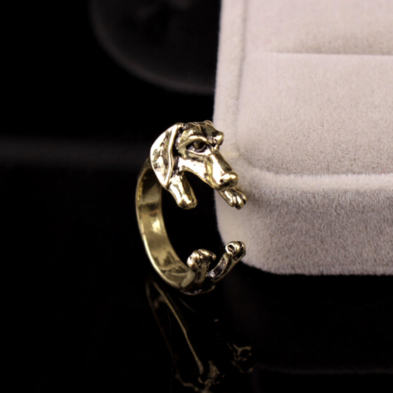 Man Women Fashion Cute Vintage Yorky Terrier Rings Puppy Big Ear Dog Ring 2017