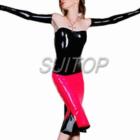 Latex Rubber tight Strap Dress red and black color sexy club slip Sheath dresses with black gloves