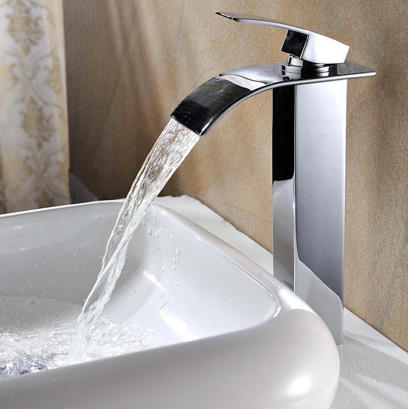 Salle de bain grand bassin doré robinet haut bassin robinet évier mitigeur cascade bassin robinet d'eau salle de bain robinet mixerSD-S-H-005A - 2