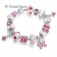 Butterfly Charms Bracelet Women Pink Bracelets Bangles Female Diy Jewelry PA1177