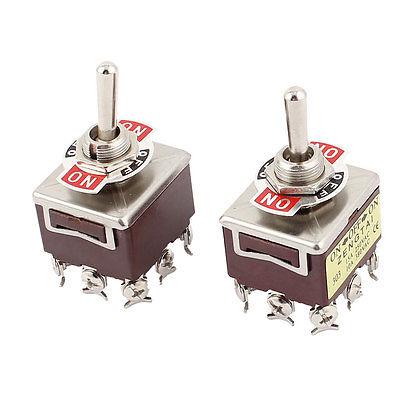 2 Pcs AC 250V 15A 380V 10A 9 Screw ON-OFF-ON 3 Position 3PDT Toggle Switch 303 odm 9 40mm mercury switch position sensor 220v 2a