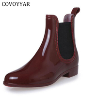 Rain Boots 2015 Waterproof Fashion Jelly Women Ankle Rubber Boot Elastic Band Solid Color Rainday Women