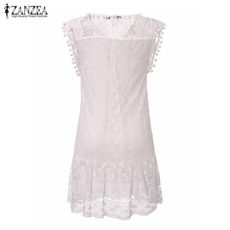 ZANZEA Vestidos 2018 Summer Elegant Women Casual Solid Short Sleeve Slim Lace Mini Dress Tops Ladies Sexy White Dress Plus Size 4