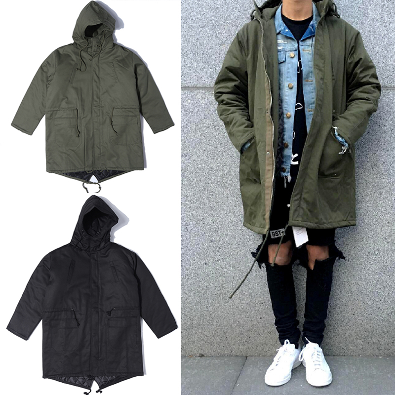 2017 military pockets zipper oversize forktail hooded jacket Hip Hop Suit Pullover Winter Jacket Coat fashion men Casual jackets