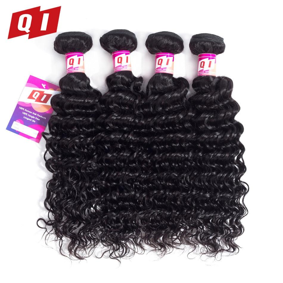 QI Hair Peruvian Deep Wave Human Hair 4 Bundles 100% Non Remy Hair Weave Extension Natural Color Hair Weave Bundles