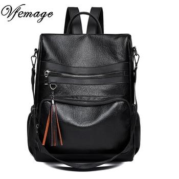 3f78808687ec Vfemage из мягкой кожи туристический рюкзак для женщин женский кисточкой  Shcool сумка женская Повседневное рюкзак для обувь девочек Женский Mochila