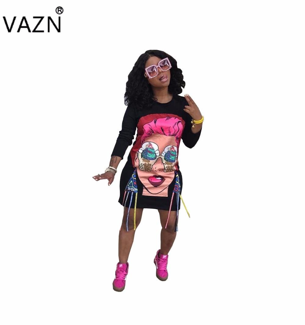 VAZN Special Design 2017 Popular Bandage Dress Full Sleeve Mini Print Dress Sexy Casual Dress TS673
