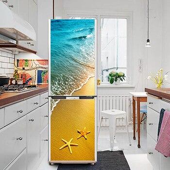 HD Print Seaside Beach Poster PVC Waterproof Entire Fridge Sticker Creative Stickers DIY Home Decor Fridge Wall Sticker