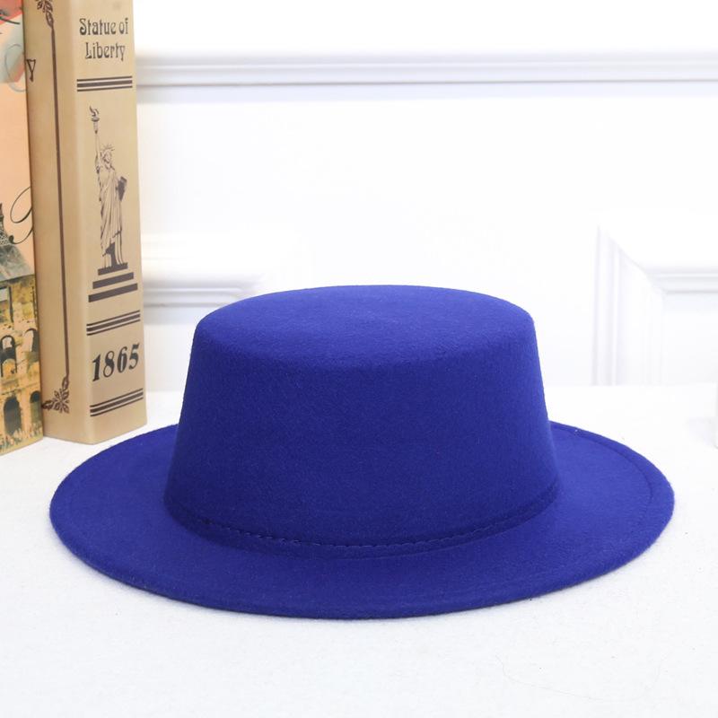 Details about Women Vintage Classic Retro Jazz Lady Warm Fedoras Cotton Felt  Caps Flat Top Hat 46cc566a2d8