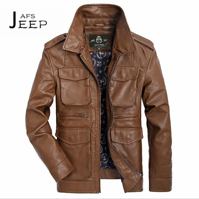 AFS JEEP Autumn Man's Multi Pockets Leather Moto & biker Straight Jacket,Shoulder Band Solid PU chaqueta de cuero black/yellow