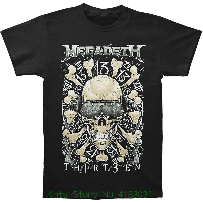 Merchandising Megadeth Mens Red Bone T-shirt Black Cotton Loose Short Sleeve Mens Shirts