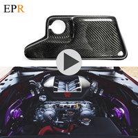 Car Accessories R35 GTR Carbon Fiber Coolant Expansion Tank Cover Glossy Fibre Engine Accessories Trim Car Styling For Nissan