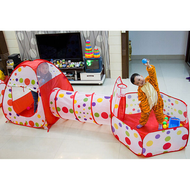 Newly 3 In 1 Kids Tent Pipeline Crawling Huge Game Play House Baby Play Yard Ball Pool Home Baby Playpen Fencing for Children 14 2 pcs baby playpen fence fencing for children child game crawling security toddler ball pool toy playpen