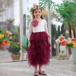 Image 5 - Robe en dentelle pour fille, vêtement de mariage, tulle à plusieurs niveaux, tenue de princesse Maxi à manches longues, pour enfants de 1 à 10 ans, E17104