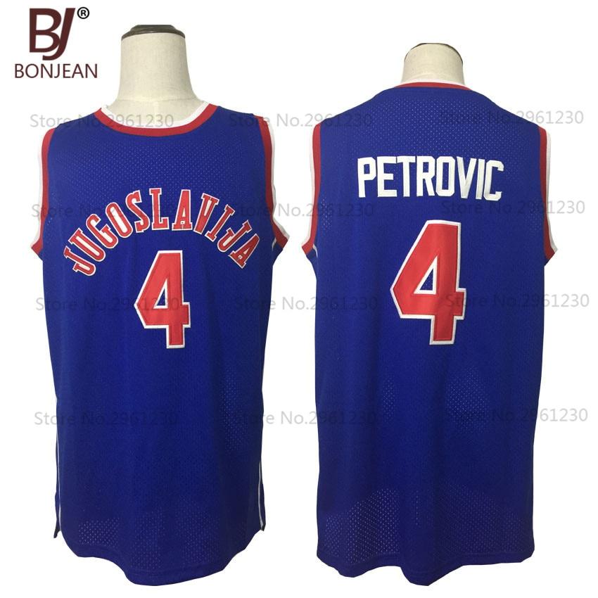 все цены на BONJEAN New Cheap Drazen Petrovic #4 Jugoslavija Yugoslavia Croatia Throwback Basketball Jersey Blue Stitched Mens Shirts