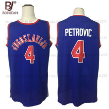 BONJEAN New Cheap Drazen Petrovic #4 Jugoslavija Yugoslavia Croatia Throwback Basketball Jersey Blue Stitched Mens Shirts