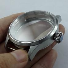 علبة من الفولاذ المقاوم للصدأ وزجاج ياقوت 43 مللي متر تناسب eta 6497 6498 ST 3600 ساعة ذات حركة