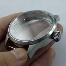 43mm ספיר זכוכית נירוסטה מקרה fit eta 6497 6498 ST 3600 תנועת שעון מקרה