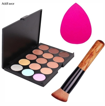 AddFavor Pro Makeup Set 15 Colors Concealer Palette Foundation Sponge Puff Brushes Face Contour Cosmetic Make Up Tools Kit Beauty & Health