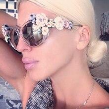 Цветочные солнцезащитные очки для женщин Кошачий Глаз Модные солнцезащитные очки UV400 женские летние пляжные очки с розами Oculos