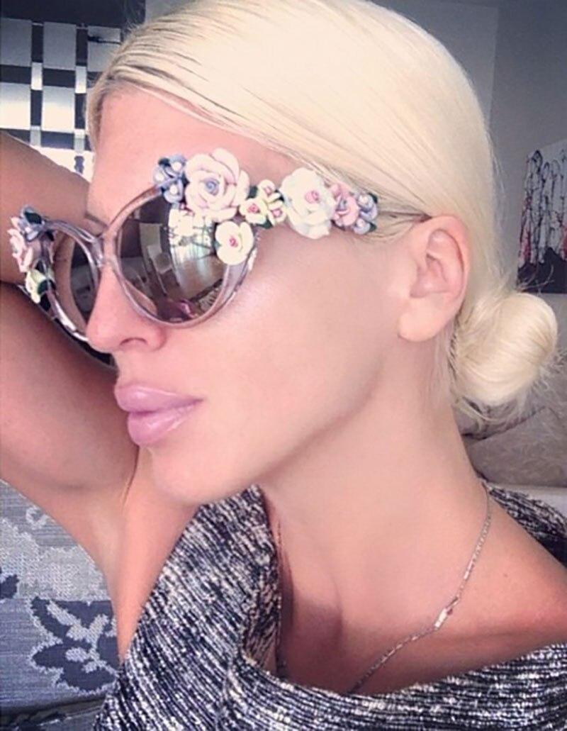Flower Sunglasses Women Cat Eye Fashion Sun Glasses UV400 Female Summer Beach Roses Eyewear Oculos