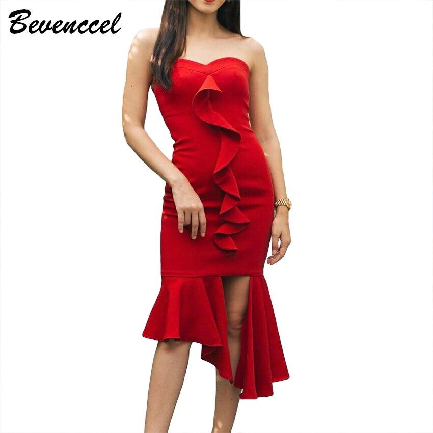 Nouvelle Élégant Robe Moulante Manches À Bretelles Avant Chic Cocktail Arrivée Femmes Rouge Volants Sans 2019 Robes Bandage rBeWxEdoQC