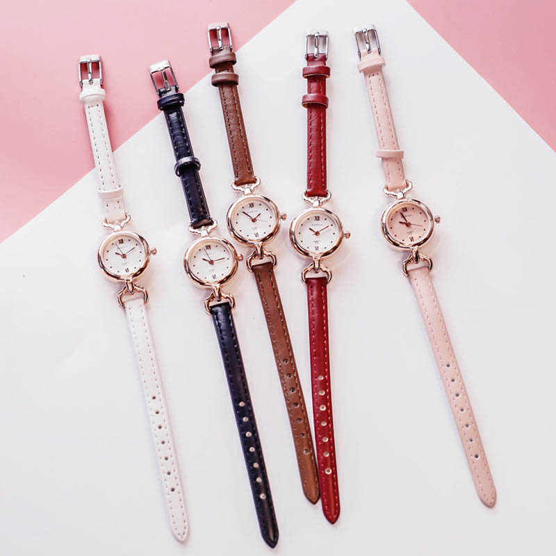 Women Girl Simple Quartz Wrist Watch PU Leather Strap Mini Thin Dial Watches LL@17