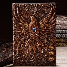 Cuaderno Retro europeo personalizado imitación cuero en relieve Phoenix cuaderno creativo regalo personalizado viajero diario libro nuevo