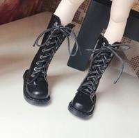 D01 P354 children handmade toy 1/3 1/4 Doll Accessories BJD/Sd shoes Black zipper casual Martin boots 1pair