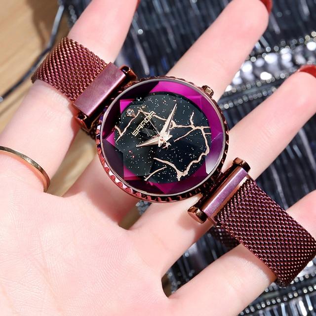2018 Luxury Magnet Women Watches Gold Dress Bracelet Crystal Quartz Ladies Watch Starry Sky Female Steel Clock relogio feminino 3