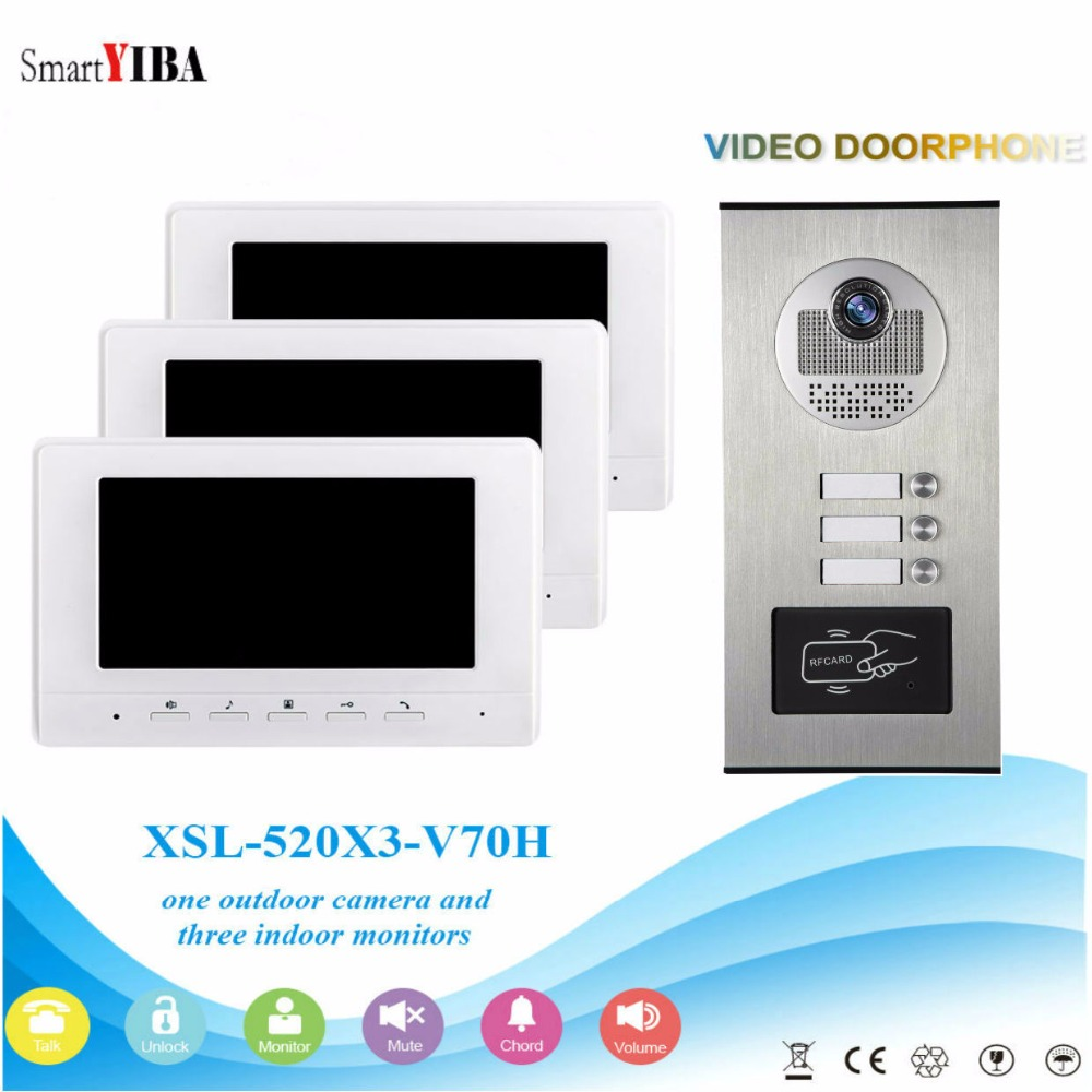 SmartYIBA 7 Video Intercom Apartment Door Phone System 3 White Monitors 1 HD Camera for  ...