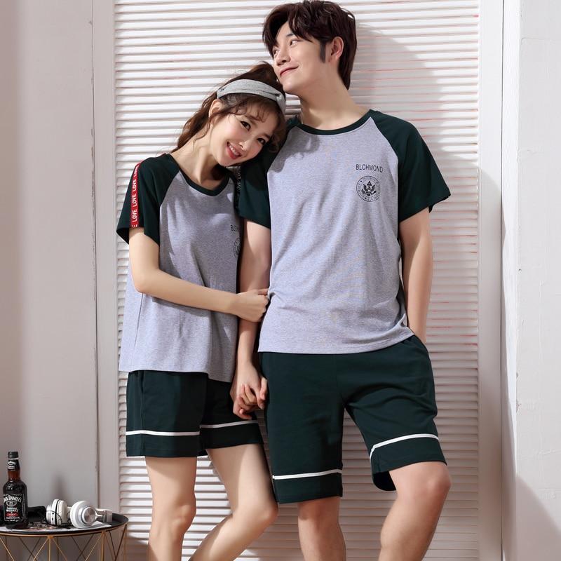 Women's Pajamas summer Short sleeve Cotton Pyjamas Couple Sleepwear lovers Men Sleep Lounge Pajama Set