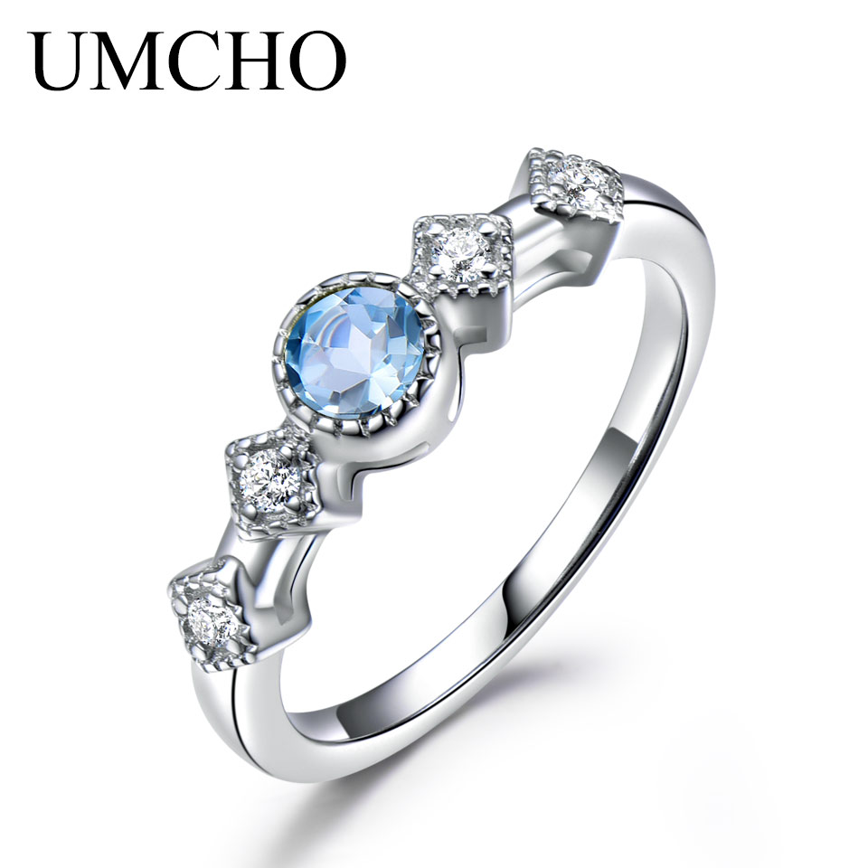 UMCHO Natural Sky Blue Topaz Rings For Women Solid 925 Sterling Silver Ring Gemstone Engagement Fine Jewelry New Arrivals