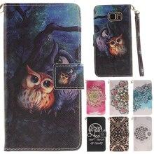 Милый кожаный бумажник-книжка с рисунком Совы и цветов, флип-чехол для телефона Fundas для samsung Galaxy S5 S6 S6 Edge Plus S7 S7 Edge, задняя крышка