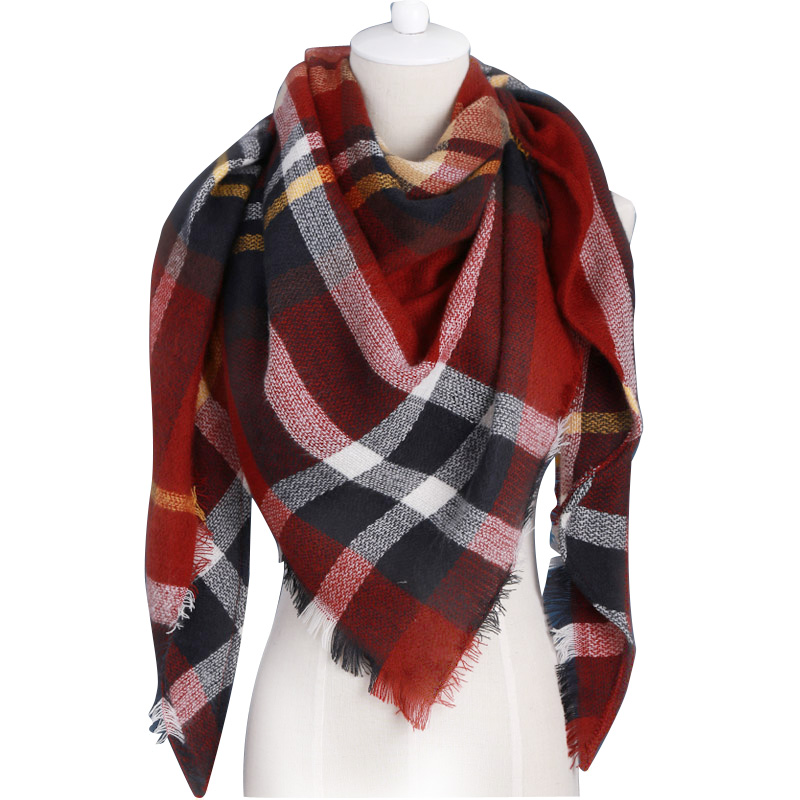 za winter scarf 2016 brand triangle tartan scarf