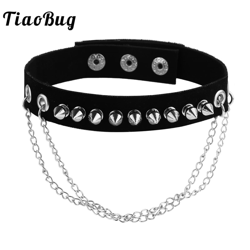 TiaoBug Women Men Black Cool Punk Gothic Metal Rivet Faux Leather Collar Hot Harness Spike Choker Necklace BDSM Bondage Necklace