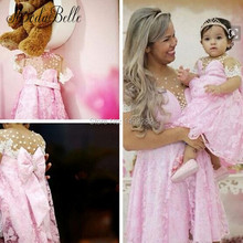 Lovely Pink Lace Mother And Daughter Short Evening Gown Pearls Flower Girl Dresses Designers With Bow Kids Girls Pageant Dresses
