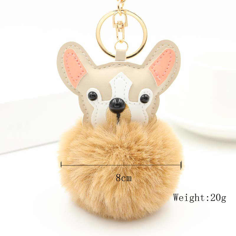 Re bonito cão bolsa pingente chaveiro bolsa feminina mini accessaries fofo falso pele de coelho pompom de pelúcia carro saco charme chaveiros a830