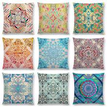 Retro Cushion Throw-Pillow Moroccan-Pattern Decor Sofa Boho Floral Nature Diamond Flower
