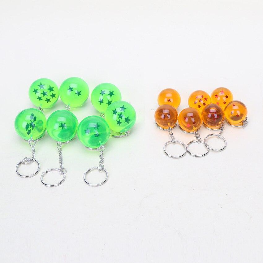 5sets 2 5cm Dragon Ball Z 7 Stars Crystal Balls PVC Figures Toys Keychain Pendant Complete