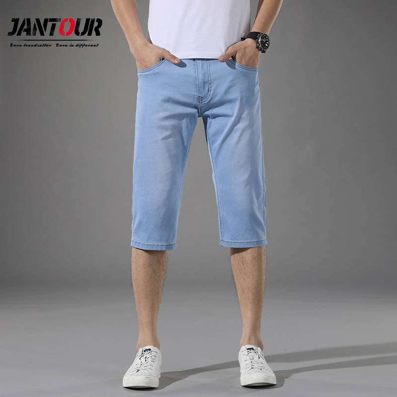 2019 summer cotton Shorts Men   Jeans   Brand Denim Short for Man Blue thin   Jean   Calf-Length Pants Beach Shorts male Size 28-40