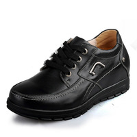 X577 2 Comfortable Black Calfskin Height Increasing Elevator Shoes In Hidden Insoles Heels Grow Man Taller
