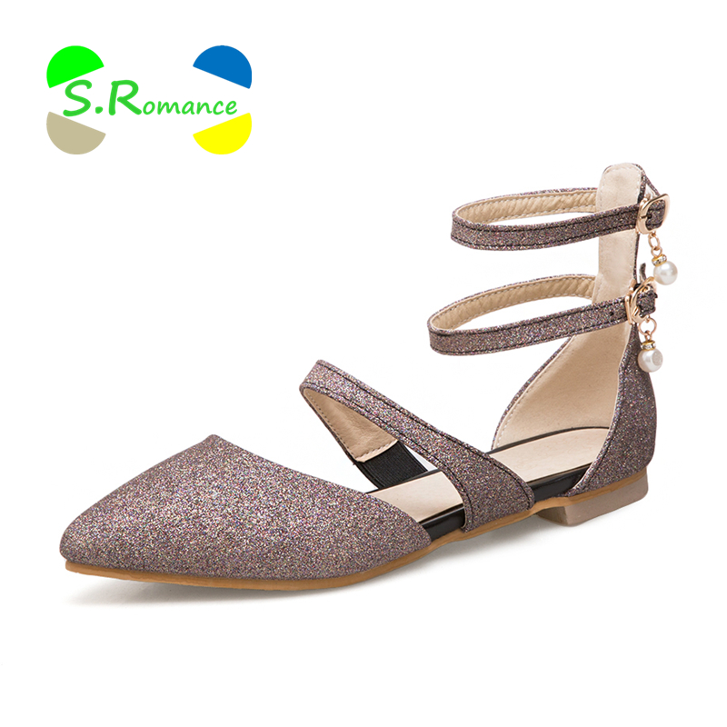S.romance Summer Shoes Sandals-Size Strap Buckle Bling-Cover-Heel Women Ankle-Wrap 34-43