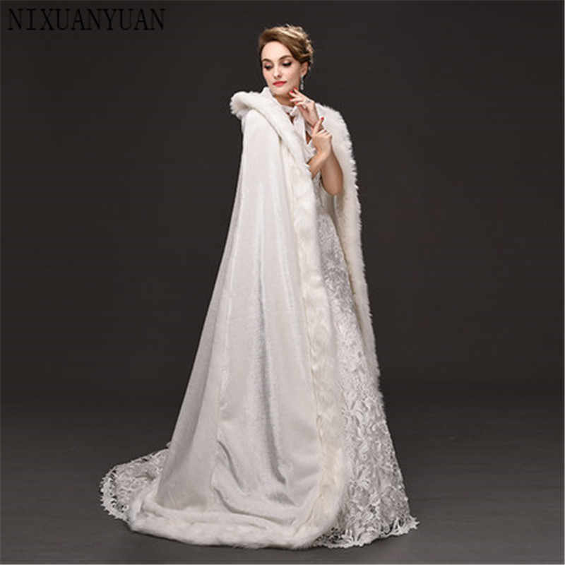 Floor Length Women Ivory Faux Fur Trim Winter Christmas Bridal Cape Stunning Wedding Cloaks Hooded Long Party Wraps Jacket